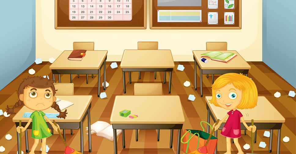 Como ensinar crianças a cuidar da sala de aula